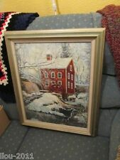Noted New England Artist Sally Snow Higgins Framed Oil Painting Water Wheel