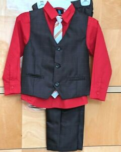 Kids World of USA Boys' 4 Piece Formal Suit Set, Red Shirt & Suspenders Size 6