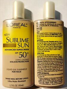 L'Oreal Sublime Sun ADVANCED Sunscreen SPF 50+ Liquid Silk Lotion 1.7 oz. (2 PK)