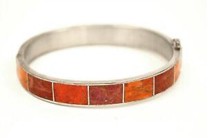 DESERT ROSE TRADING DRT Signed Jay King Sterling Silver & Coral Inlay Bracelet