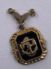 USN Navy Onyx Gold Filled Pendant