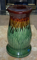 ARTS & CRAFTS CATTAIL BULRUSH MAJOLICA McCOY POTTERY JARDINIERE PEDESTAL 153/USA