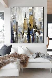 QUADRO MODERNO ASTRATTO SKYLINE NEW YORK MANHATT DIPINTO OLIO SU TELA  dipinto