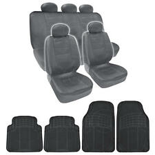 BDK Complete Set Gray PU Leather 9 Pc Seat Covers & Black 4pc Odorless Mats