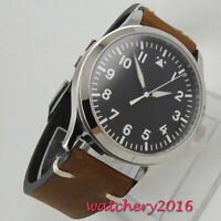 42mm Corgeut black sterile dial Sapphire Glass leather Automatic mens Watch