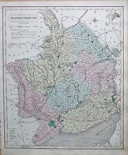 1845 gran mapa antiguo condado-Ferrocarriles, Monmouthshire Newport USK Abergavenny