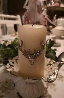 Kerzenstecker Metall Hirsch Silber Weihnachten Shabby Vintage Landhaus Deko