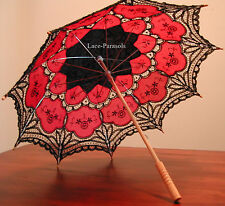 Black & Red Battenburg Lace Parasol - Gothic!