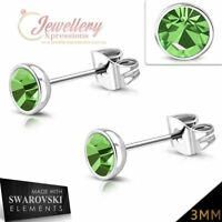 Stainless Steel Gold Color Plated Bezel-Set Round Circle Stud Earrings with Peridot Stellux Crystals pair