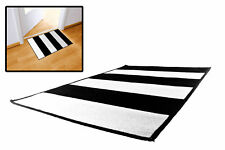 JUVENTUS - Zerbino tifosi - tappeto bianconero a righe con antiscivolo cm 80x50