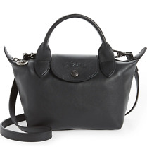 Longchamp Le Pliage Cuir Small Leather Crossbody Bag Black