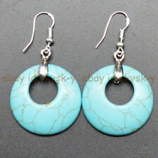 Ring Dangle Silver Hook Earrings Natural Blue Turquoise 28mm Hollow Round