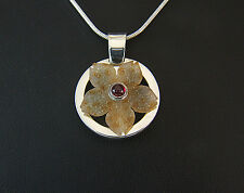 Agate Drusy With Pigeon Blood Ruby. Invisible Setting. Hand Made Pendant