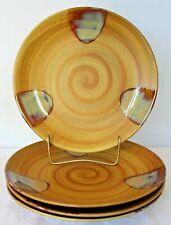Set of 4 SANGO Splash ~ DINNER Plates ~ 4951 Stoneware BROWN Drip Glaze