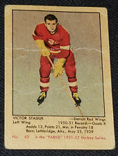 1951-1952 PARKHURST VICTOR VIC STASIUK DETROIT RED WINGS ROOKIE HOCKEY CARD #62