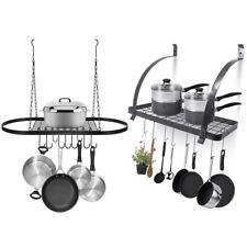 Pot Rack Wall Mount or Hanging Kitchen Pot Pan Organizer Storage Holder w/ Hooks