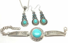 Earrings Bracelet Necklace Jewellery Set Vintage Antique Silver Turquoise Stone