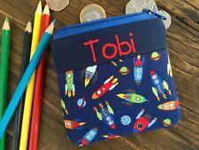 Handmade personalised kids childrens spaceship rocket purse wallet for boy girl