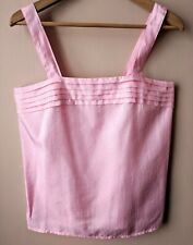 80s Vintage Pale Pink Vest Top Pleated 14-16 Camisole Cami Summer