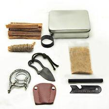 Pocket Survival Tin Fatwood Hand Cut in USA Ferrocerium Ferro Rod Saw Knife