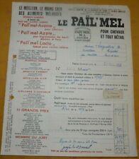 Ancienne facture le Païl'Mel Toury Aliments mélassés pour chevaux et bétail 1957