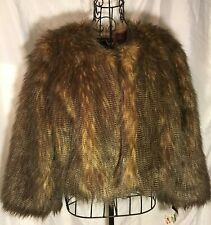 INC International Concepts Brown Faux Fur Full & Fuzzy Cropped Jacket Size Large