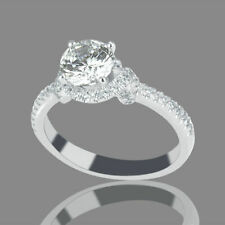 1 CT Real Natural Diamond Engagement Ring Round H/SI2 18K White Gold