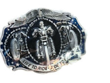 Harley Davidson Motorcycle New Born To Ride Silver Tone Metal Belt Buckle