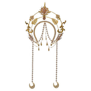 Gothic Women Golden Leaves Hair Band  Halo Crown Virgin Mary Headpiece for Show
