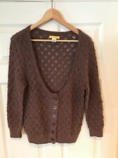 Catherine Malandino Brown Open Knit Low Cut Button-Up Cardigan, Size Large