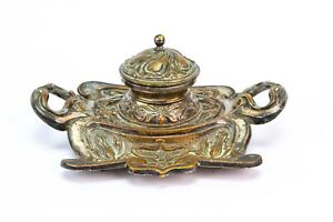 1900 Art Nouveau Inkwell Metal Silver Plated Antique English Victorian Ink Stand