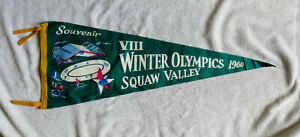 1960 Squaw Valley Winter Olympics Green Felt Pennant