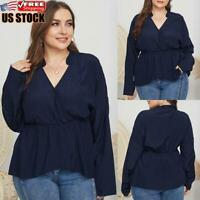 Plus Size Womens Solid Ruffle Long Sleeve Shirt Ladies Casual V Neck Tops Blouse
