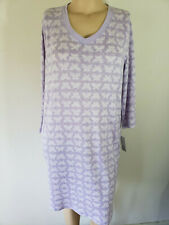 NWT Womens Nightgown Croft /& Barrow Knit Cotton Blend L//S Pink Paisley