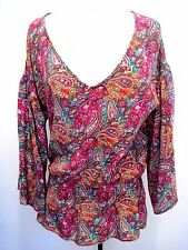 Tolani 100% Silk Paisley Multicolored Tunic, Blouse Dress Size M