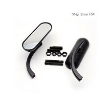 Black Oval Side mirrors Pair For Harley Metric Victory Dyna Electra Glide