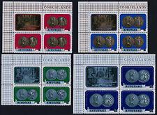 Aitutaki 66-72 TL Blocks MNH Coins on Stamps, Bird, Fish, Fruit, Flower