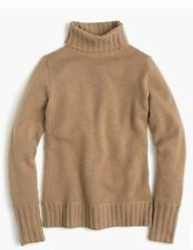 J.CREW 100% Soft CASHMERE Ribbed Turtle Neck Soft SWEATER Med Creme Pullover