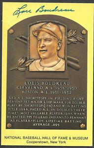 Lou Boudreau Autograph on HOF Plaque