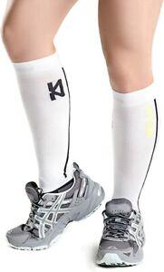 Zensah Leg Sleeves, Shin Splint Running Compression Calf Sleeves - White (Pair)