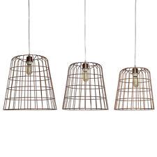 Lumière Plafond Pendentif Ensemble de 3 filaire lampe panier pendant cuivre CORA