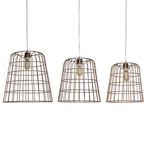 Cora Copper Set of 3 Wired Lamp Basket Hanging Ceiling Light Pendant Lighting