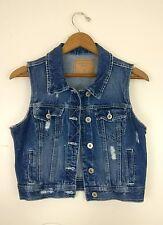Amethyst Jeans Denim Vest Distressed Dark Blue Cotton Jacket (Women's M/L)