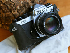 Leather Half Case for Nikon FM, FM2, FM3, FE, FE2 Grey Suede - BRAND NEW