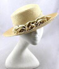 LORD & TAYLOR Vintage Tan Ribbon Bow Rosette Floral Flower Brim Sun Dress Hat