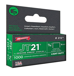 "Arrow JT21 Staples 5/16"" 8mm, 1000 Pack, Fits Stanley TR45"