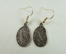 Alice in Wonderland Earrings, Handmade, Tibetan Silver, Clock Melty Face