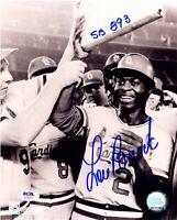 Lou Brock autographed signed inscribed 8x10 photo St. Louis Cardinals PSA COA