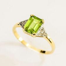 NATURAL PERIDOT RING DIAMONDS 9K 375 GOLD SIZE P 1.7 ct OLIVE GREEN PERIDOT NEW