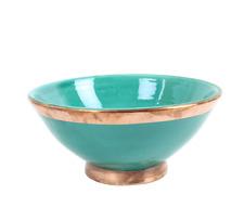 "Moroccan Ceramic Bowl with Copper Edge Large Handmade Jade Green 20 cm (8"")"
